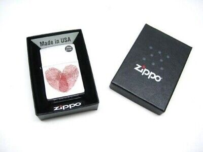 Zippo Full Size Brushed Chrome Fingerprint Heart Classic Windproof Lighter 29068