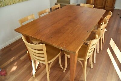 Dinning Setting - Natural Stressed Wood Dining Table and 8 Thonet Vienna Chairs