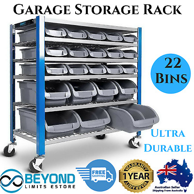 22 Bins Storage Rack Warehouse Garage Workshop Tools Parts Shelving Nuts Bolts