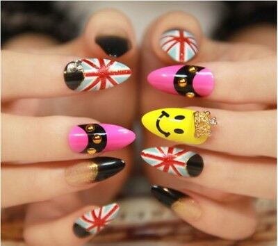 E43 24Pcs Japanese Style Bling Bling Non Glue Drill Nail Tips Fake Nails A