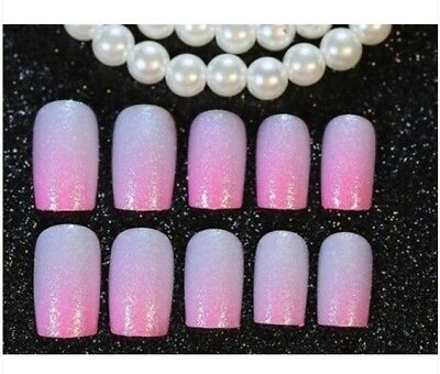 E41 24Pcs Japanese Style Bling Bling Non Glue Drill Nail Tips Fake Nails A