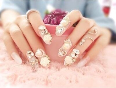 A18''Japanese Style 24 Pcs Set Bling Bling Drill Nail Tips Completed Fake Nails