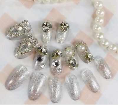 E14 24Pcs Japanese Style Bling Bling Non Glue Drill Nail Tips Fake Nails A