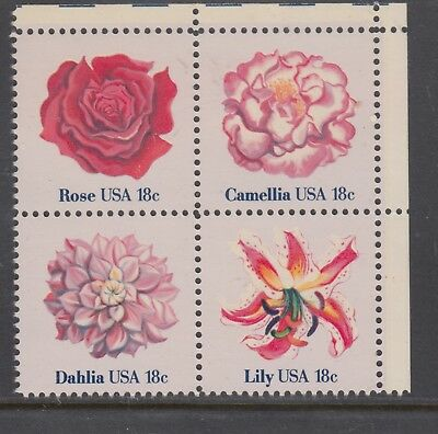 UNITED STATES 18c Flowers Corner   Block of 4 MUH