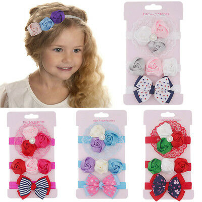 3PCS Kid  Floral Headband Hair Girl  baby Bowknot Accessories Hairband Set