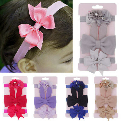 3PCS Cute Kids Floral Headband Hair Girl baby Bowknot Accessories Hairband Set