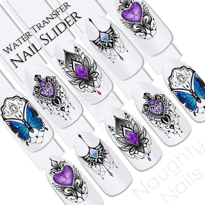 Twilight Tribal Gems Flower Butterfly Nail Water Transfer Decal Sticker Art Slid