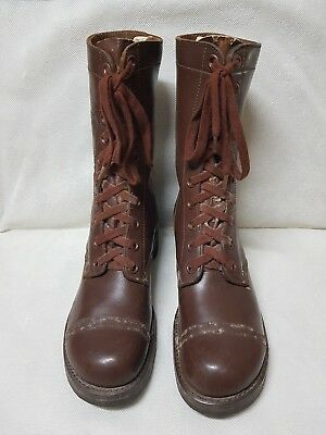 RARE 1940'S WW2 Vintage US Army Brown Leather Combat Boots Shoes Military Gear 2