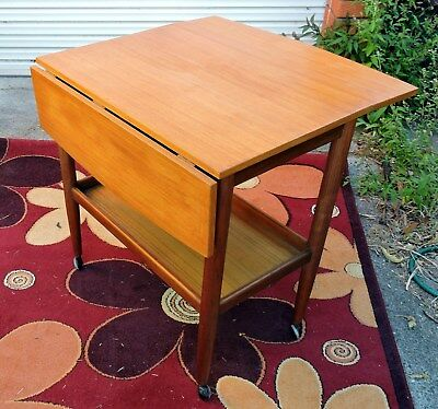 Mid century Danish Style Parker Cocktail Drink Trolley With Drop Side