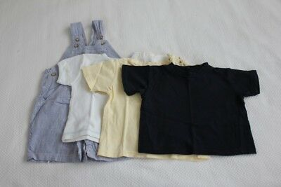 Baby overalls with 3 T-shirt tops (size 0)