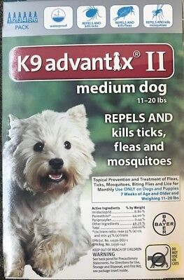 Bayer K9 Advantix II 2 months supply for  Dogs 11-20 lbs,Genuine FREE SHIPPING !