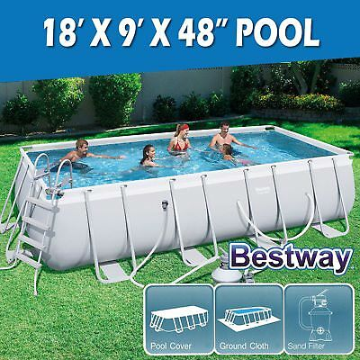 Bestway Above Ground Swimming Pool Steel Pro Frame Sand Filter Pump 18ft 56468