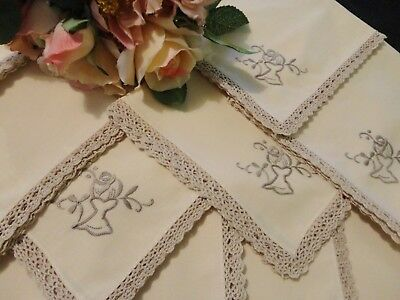 Vintage Napkins in Ecru with Crocheted Edges  12 Pieces
