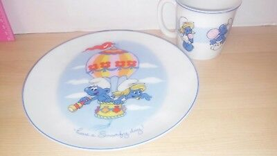 1982 smurf plate and cup by peyo