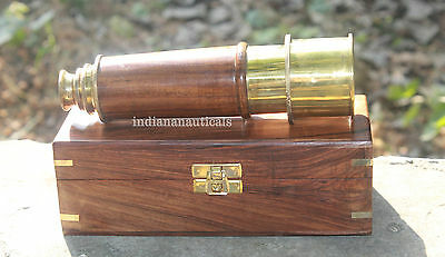 Solid Brass Nautical Telescope Maritime Spyglass Vintage Scope With Wooden Case