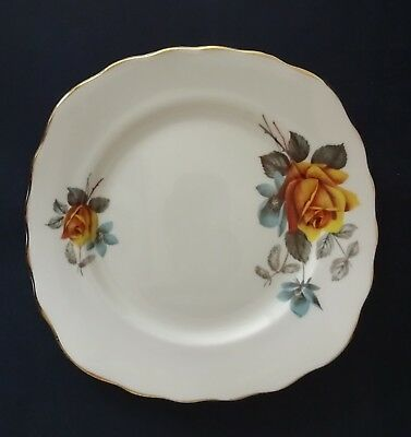 Royal Vale Bone China Side Plate: Yellow Rose: Dia 15.5cm