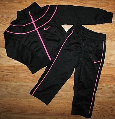 3d26785ad4027c Girl s NIKE BLACK HOT PINK 2 PC TRACK SUIT JACKET   PANTS -SIZE ...