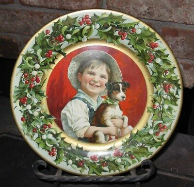 Theo Gier Wine Co. Oakland Cal Christmas Tray Boy With Jack Russel Terrier