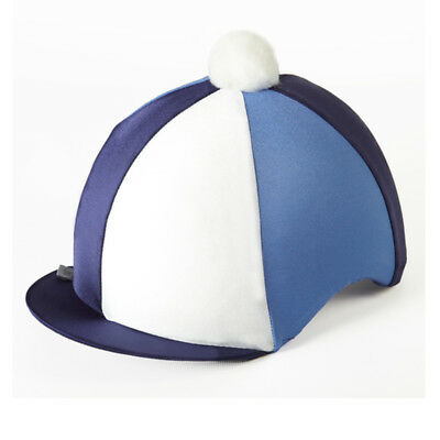 Capz TRI Lycra Hat Cover - Navy/ Blue/ White - Riding Hat Silk/ Riding Hat Cover