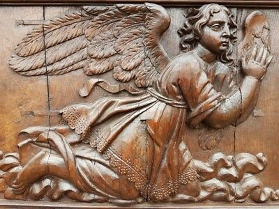 Large 16th Century Renaissance Period Carved Antique Oak Panel of an Angel