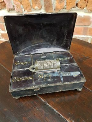 Early 19thC English Antique Toleware Spice Tin & Original Grater Kitchenalia