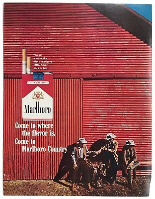Vintage 1960's Marlboro Cigarette Magazine Ad, tobacco collectible