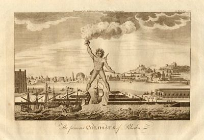 """""""The famous Colossus of Rhodes"""". Greece. MIDDLETON 1779 old antique print"""