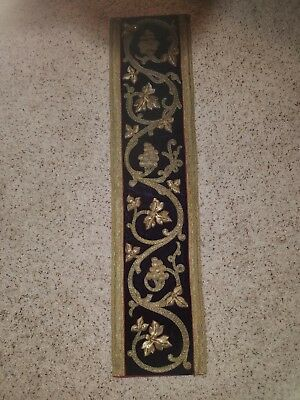 antique french gold work embroidery panel stumpwork