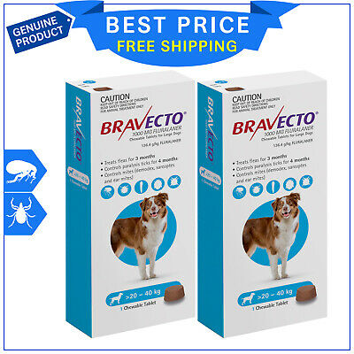 BRAVECTO For Dogs 20 to 40 Kg Blue Pack 2 Chews flea and tick treatment