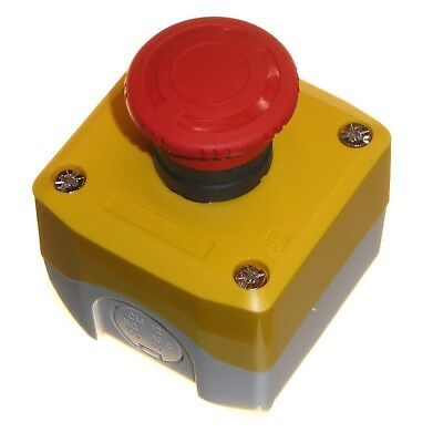 Emergency Stop Push Button Twist to Reset 40mm Mushroom Head Yellow Red New