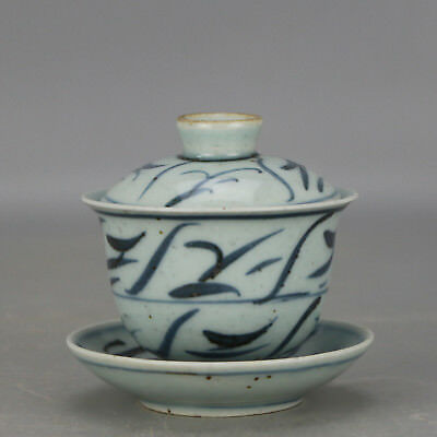 Chinese antique old hand-carved  porcelain Blue and white covered cup c01