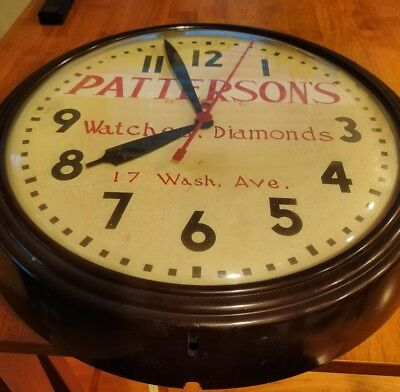 Vintage Advertising Clock - Patterson Watches Diamonds