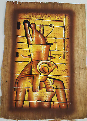 GREAT HAND PAINTED PAPYRUS FROM EGYPT ANCIENT EGYPTIAN GOD HORUS LARGE 41x31cm