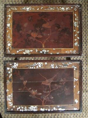 PAIR Antique Qing Dynasty 19th C. Chinese Mother of Pearl Inlay Lacquer Tables