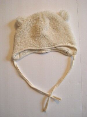 bec9212b789 H M BABY UNISEX Soft Ivory Sheering Bear Hat with Ears and Neck Tie ...