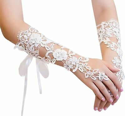 Women Hand-woven Flowers Long Lace Gloves Fingerless Gloves Prom Party Weddin...