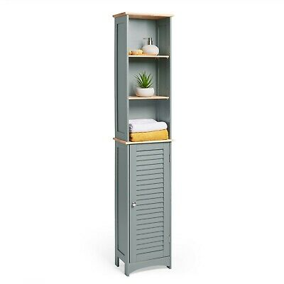 VonHaus Bathroom Tall Boy Door Cabinet Unit With Shelving And Cupboard  Grey