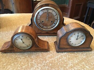 collection of 3 lovely antique wooden mantle clocks