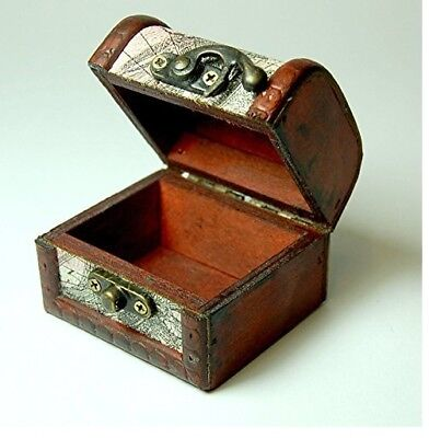 Mini Wooden Old Mappe Treasure Chest - 8x6x6cm-  Pirate's Jewellery Storage Box