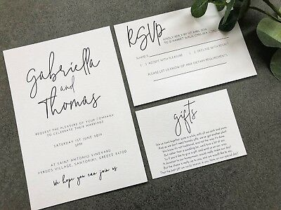 'Gabriella' modern calligraphy style wedding invitation, RSVP card and wish card