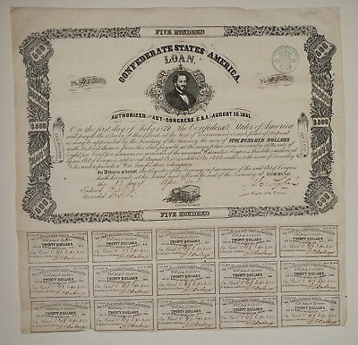 $500 Confederate States of America Civil War Bond Ball Type 60 / 74 w/15 Coupons