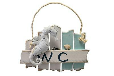 Nautical Theme Shabby Chic  Wooden  WC Sign  Plaque with Seahorse Toilet Decor