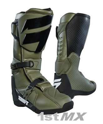 Shift MX Whit3 Label Motocross Offroad Race Boots Fatigue Green Adults UK12 US13