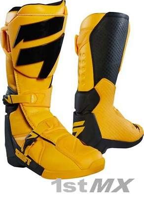 Shift MX Whit3 Label Motocross MX Offroad Race Boots Yellow Adults UK7 US8