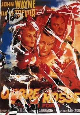 Mimmo Rotella Ombre Rosse litodecollage 100x70 cm