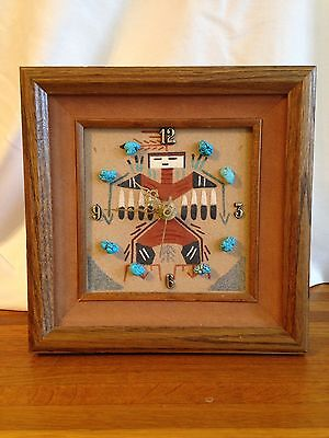 Signed Native Southwest Style Sand Art Clock In Frame With Turquoise Chunks