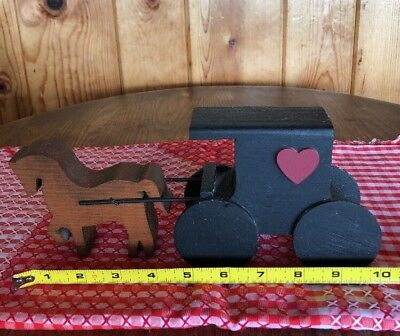 """Horse Pulling Wagon Toy made of Wood Amish 10"""" Long"""