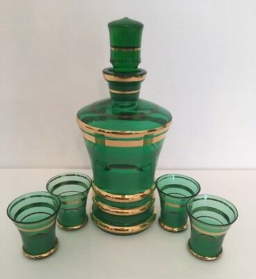 "Midcentury Green and Gold Glass Petite Decanter (8""h) and 4 Shot Glasses"