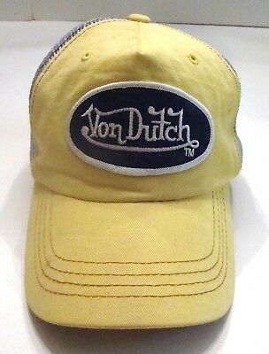 49a09a6f4f1 Von Dutch Vintage Trucker Mesh Hat Cap Yellow Blue With Adjustable Snapback