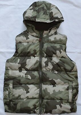 Boys Camo Puffer Vest Hooded Crazy 8 Green Brown Fleece Lined Size Small 7-8